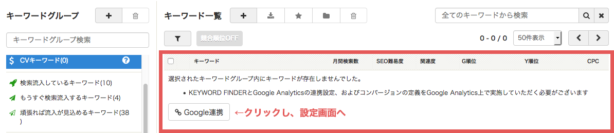 キーワード一覧:Google連携