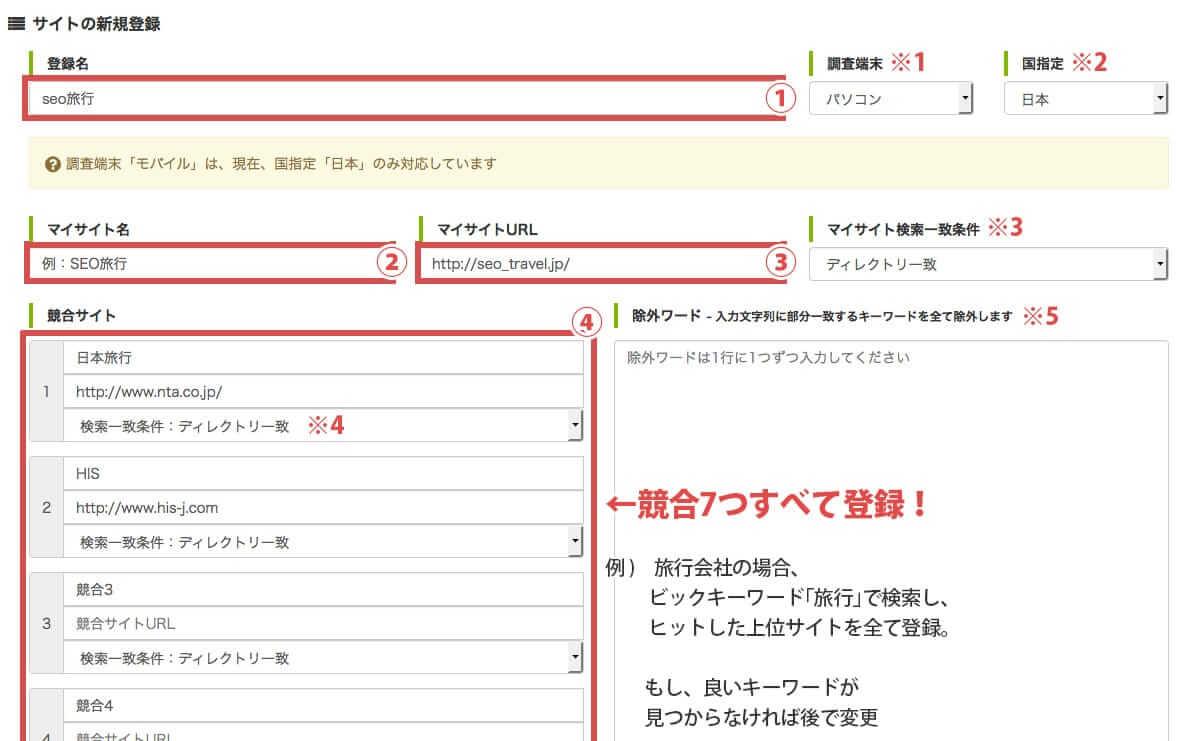 サイトを登録(KEYWORD FINDER)