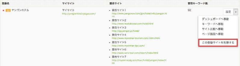 ホーム画面-登録サイトの削除